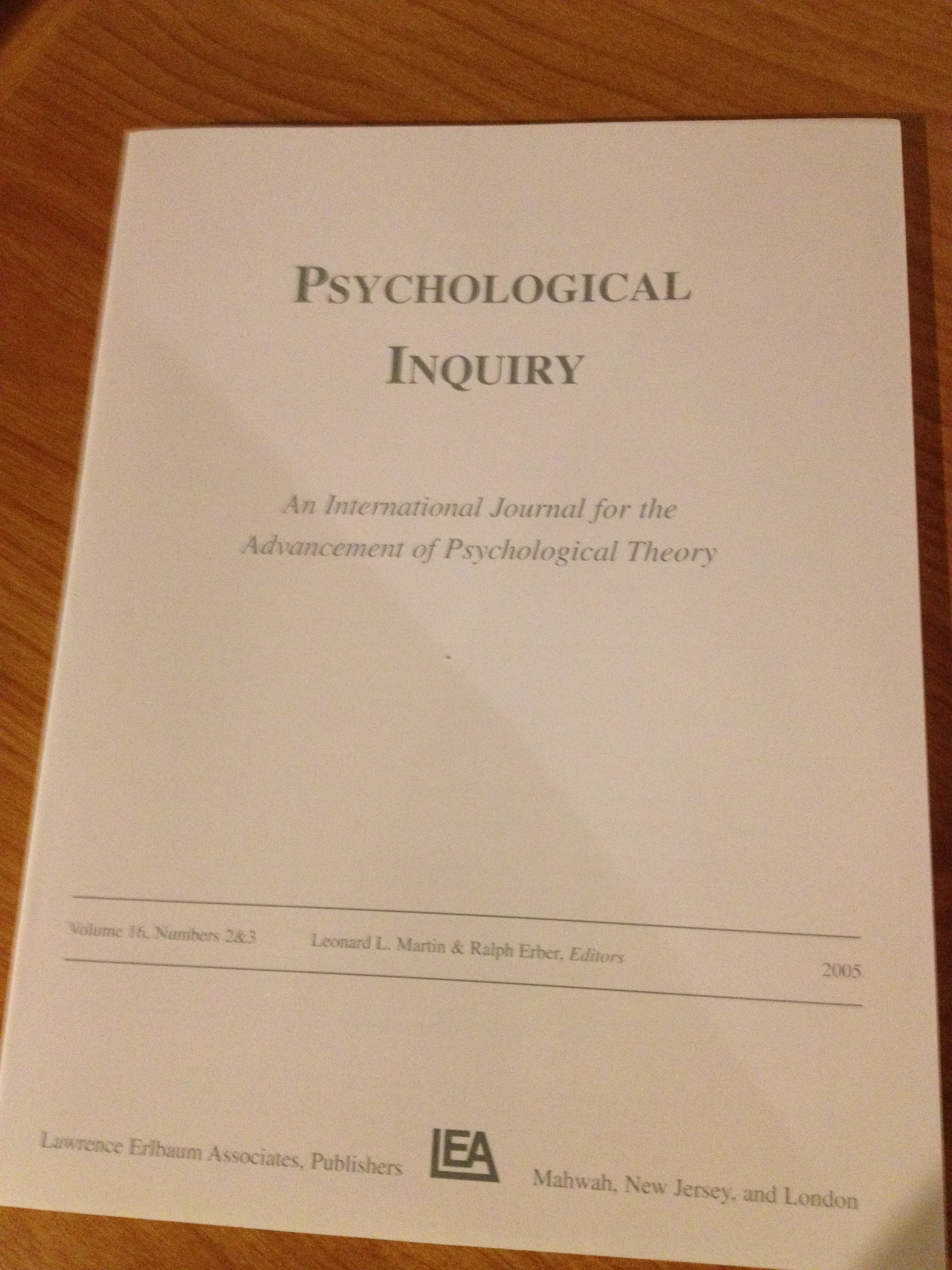 psychological inquiry Cognitive psychology other professional activity: co-managing editor for journal  of psychological inquiry member of association for psychological science.